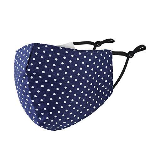 Mund-Nasen-Maske Dots Behelfsmaske 100% Baumwolle Farbe dunkelblau