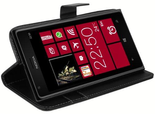 mumbi Tasche Bookstyle Hülle kompatibel mit Nokia Lumia 1520 Hülle Handytasche Hülle Wallet, schwarz