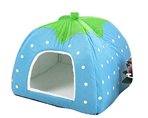 GUOCU Rote Erdbeere Haustierhaus Luxuriöses Weich Schlafsack Hundehütte Katzenhöhle Hund Katze Haus für Kleine Hunde und Katzen See Blau XXL