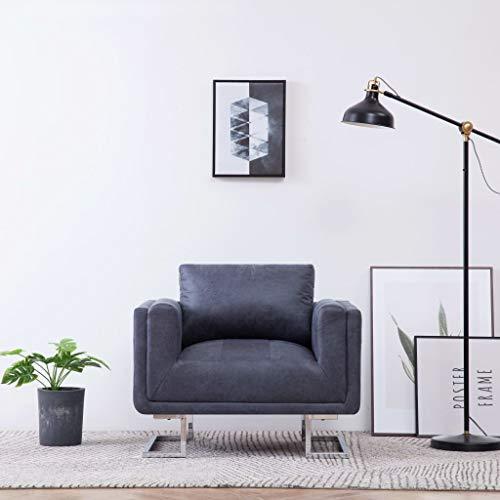 Festnight Sillón Relax Sofa Nordico Butacas Dormitorio en Forma de Piel de Ante Artificial Gris 84 x 62 x 73 cm