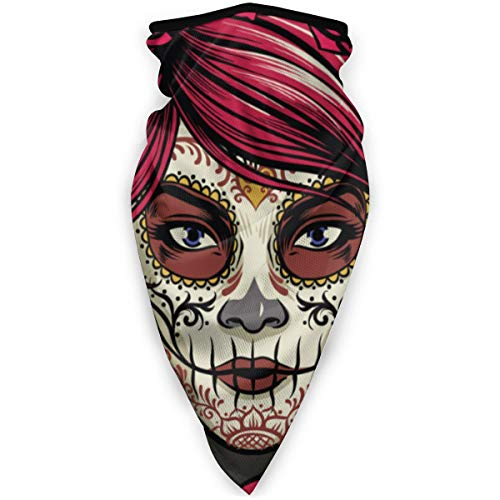 best pillow Sugar Skull LadySport Headband Bandana - Wind Dust Proof Neck Gaiter, Face Mask Washable - Cold Weather Balaclava - Headwrap