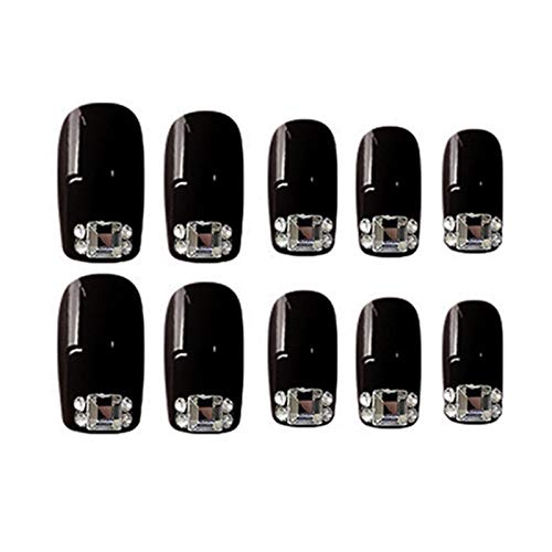 RUNGUANG LIGHTS WEIHJ-N 24pc Fake Nails With Glue Designed Black Small Broken Drill False Nail Removable Nail Patch Artificial Nails With Glue