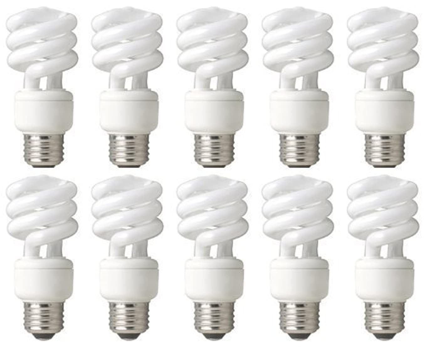 TCP 68914B10 CFL Mini Spring A Lamp - 60 Watt Equivalent (only 14W used) Soft White (2700k) Spiral Light Bulb - 10 pack
