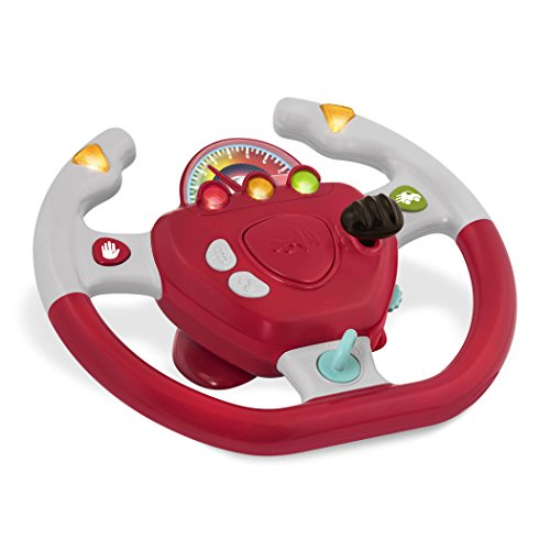 Battat – Geared to Steer Interactive Driving Wheel – Portable Pretend Play Toy Steering Wheel for Kids 2 years +, Red (BT2525Z)