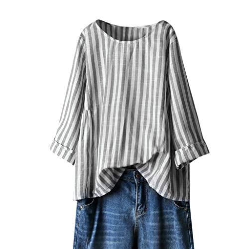 Andouy Damen Stilvolle Vertikal Gestreifte Hemden Übergroß Rundhals Langarmshirt Blusen Tops(M.Schwarz)