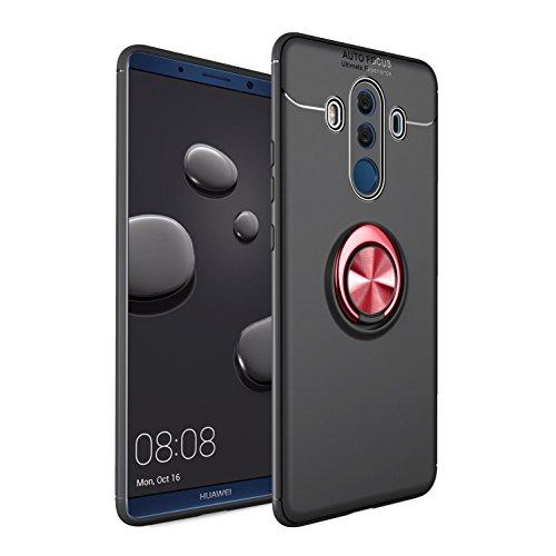 Shinyzone Coque pour Huawei Mate 10 Pro,Noir et Rouge avec Anneau Rotation 360 Degrés,TPU Mince Doux Absorption des Chocs Compatible avec Support de Voiture Magnétique