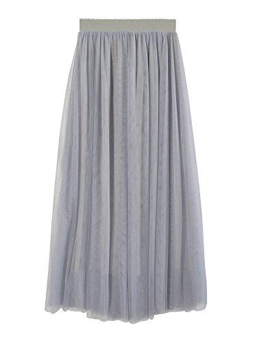 Falda Tul Larga Mujer 3 Capas de Tul Cintura Elástica Elegante Romántica de Fiesta Boda - Gris 80CM