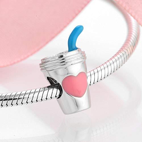 jiao 925 Sterling Silber Pink Emaille Herz Kaffee oder Saft Tasse Charms Perlen Fit Original DIY Armband Armreifen Schmuckherstellung