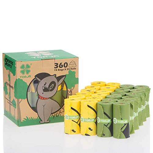 YORJA Hundekotbeutel biologisch abbaubare,tropfsichere Hundetüten,extra groß,dick und stark-510 Stück mit Beutelspender/360 Stück