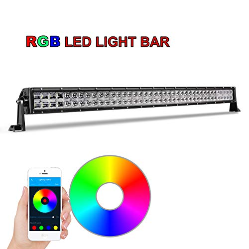AKD Part RGB LED Light Bar, 42 inch 240W Multicolor Light Bar with Wiring Harness CREE Bluetooth LED Work Lights Chasing Color LED Bar Flood Spot Combo Light 5D for Truck Boat