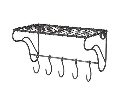 Homes on Trend Titolare di stoccaggio di ganci porta rack 5 a rete metallica vintage