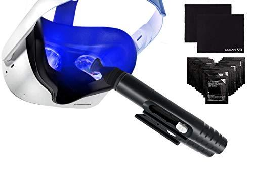 Set de limpieza para Gafas de realidad virtual, Gafas inteligentes, AR/VR (Oculus Quest, Rift s, Go, HTC Vive, Valve, Pimax): Pluma limpiadora + 2 paños de microfibra + 20 toallitas húmedas.