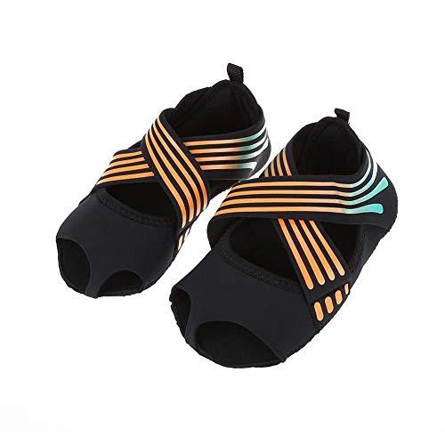 Calcetines de Yoga Mujeres Dedos Antideslizante Pilates Barre Envoltura Suave Zapatos de Entrenamiento de Baile Naranja para Pilates y Yoga(S(35-36))
