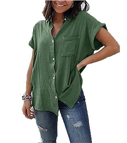 Yutila Damen Sommer Kurzarm Blusen Button Down hemdbluse Casual Shirt, Grün, XL(EU 42)