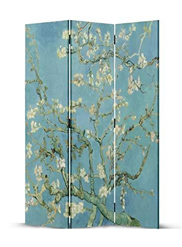 Fine Asianliving Paravento Divisori in Tela L120xA180cm 3 Pannelli Van Gogh Ramo di Mandorlo Fiorito paravento divisore Interno separe divisorio - 203-414-3