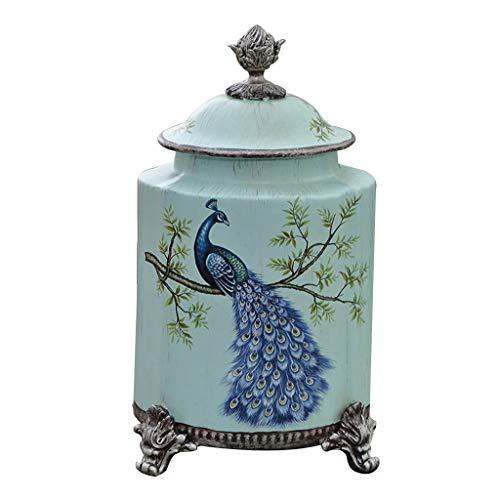 Keramik Küche Kanister Glas mit Deckel, amerikanisches Dorf Haus Wohnzimmer Bürodekoration Desktop Display Dosen, Spartopf Tanks, Geschenke for die Lieben, 16.5x12x28.5cm, Blau