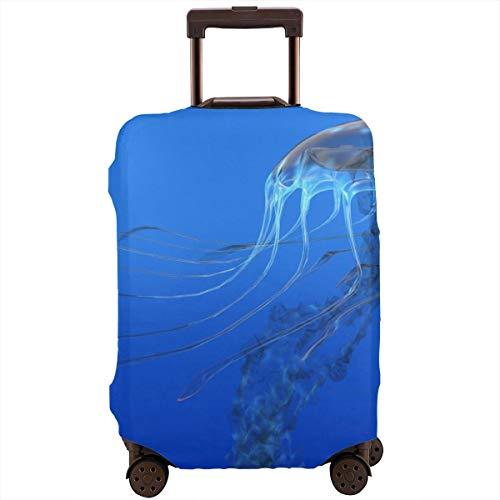 Travel koffer beschermer, blauw gevlekte gelei vis aquarium leven mariene dieren oceaan roofdier in diep water aquatisch, koffer cover wasbare bagage Cover