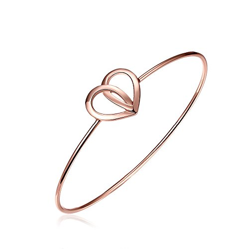 'Wedding Bells' Tie The Knot Bangle Bracelet Silver Or Rose Gold As Wedding Gift Bridesmaid Thank You Present Wedding Planner Fine Jewellery for Women Girls Unisex Wear in Gift Box (Dual Hearts)