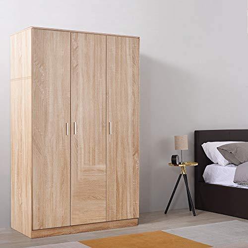 Storeinuk Armarios triples grandes de 3 puertas, con 6 estantes y muebles de dormitorio con barra para colgar (roble)