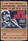 Bob Dylan Concert 10-06-1998 Goteborg Poster