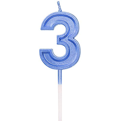 2.76'' Large Extended XXL Multi-Color Gold Glitter Happy Birthday Long Numbers 2 Candles Cake Topper Decoration for Adults/Kids Party Wedding(Blue 3)