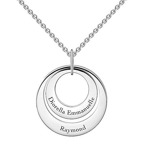 SOUFEEL Collar Plata Colgante con Nombre Personalizados Joya Mujer Regalo para Familia Novia Cumpleaño Cadena Más Extención