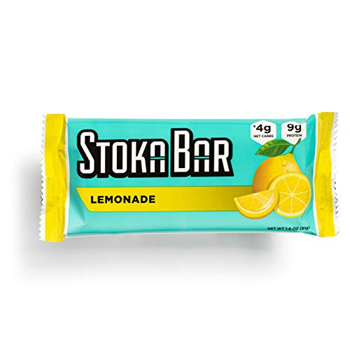 Stoka Bars-Lemonade   All Natural- Low Carb Energy Bar   4g Net Carbs   9g Protein  Low Carb  High Protein  Keto Friendly   Gluten Free   8 Count