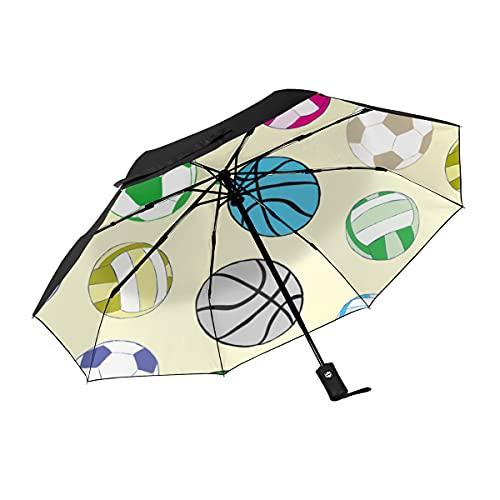 Paraguas de viaje con patrón de bola, 3 pliegues, resistente al viento, con cierre automático, ligero, resistente a los rayos UV para niños, niñas, hombres, mujeres