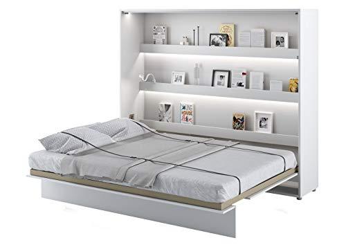 Schrankbett Bed Concept, Wandklappbett mit Lattenrost, V-Bett, Wandbett Bettschrank Schrank mit integriertem Klappbett Funktionsbett (BC-14, 160 x 200 cm, Weiß/Weiß Hochglanz, Horizontal)