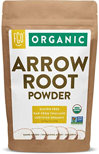 Organic Arrowroot Powder (Flour) | 16oz Resealable Kraft Bag (1lb) | 100% Raw From Vietnam | by Feel Good Organics