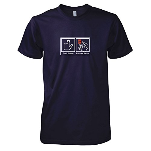 TEXLAB - Push Button Receive Bacon - Herren T-Shirt, Größe L, navy