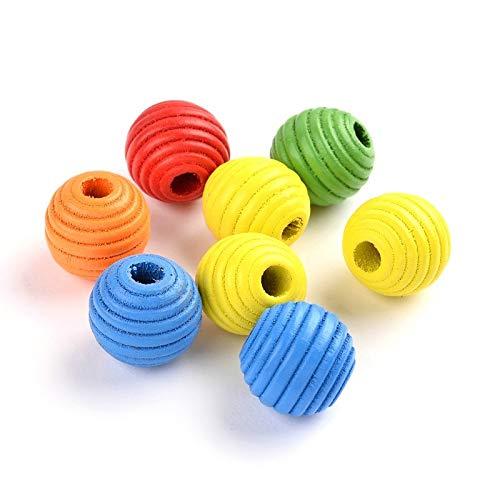 Cuentas de madera de colores con forma de abeja de 14 mm, redondas, para enhebrar, manualidades, 3 mm, espaciadores de perlas para manualidades, joyas, fabricación de collares