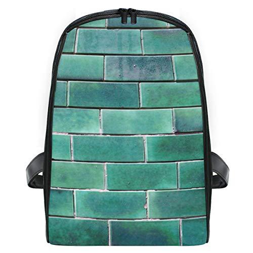 Montoj Portuga - Mochila para niños (tamaño pequeño), diseño de ladrillos esmaltados, color verde