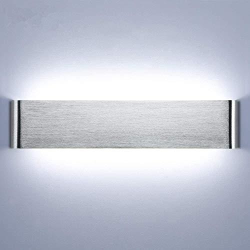 Lightess 18W 40CM Apliques de Pared LED Interior Lámpara de Pared Moderna Luz de Aluminio Acrílico Iluminación para Pasillo Salón Sala de Estar Dormitorio Escalera (blanco frío, plata)