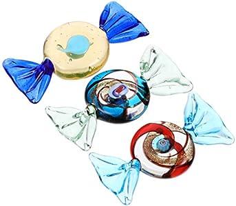 Wakauto 3 Piezas Adornos de Caramelo de Cristal Dulces de Cristal de Murano Vintage Decoraciones de Dulces Artificiales para Bodas Suministros para Fiestas Navideñas