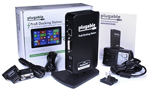 Plugable Pro8 Charging & USB Docking Station for Select Windows Tablets - Simultaneously Charges & Adds Extended Display Output, 3.5mm Audio in/Out, 10/100 Ethernet, and 4 2.0 USB Ports.