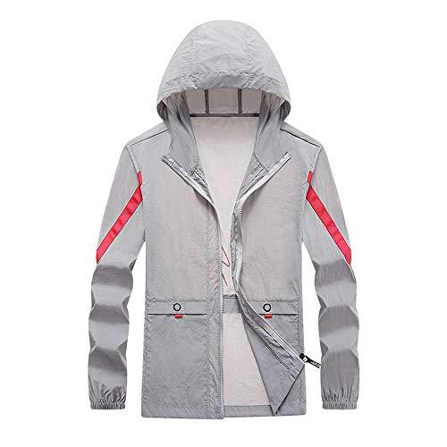 Ropa de protección solar para hombre, para jóvenes, ropa de piel guapa, ropa para hombre Gris gris XL