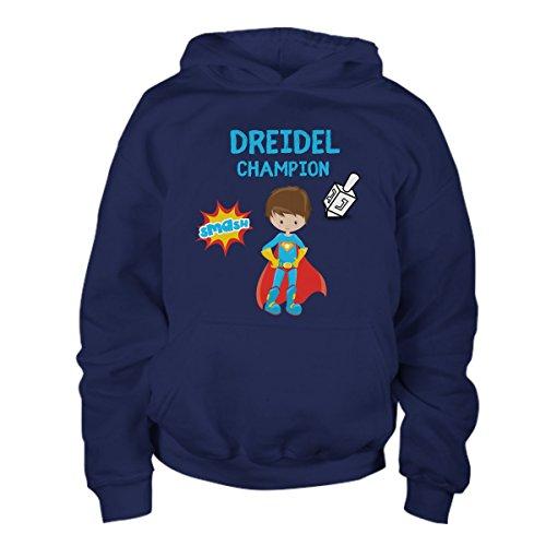 Hanukkah Jewish Holiday Boys Dreidel Champion Youth Hoodie Happy Gelt Apparel For Kids (Large)