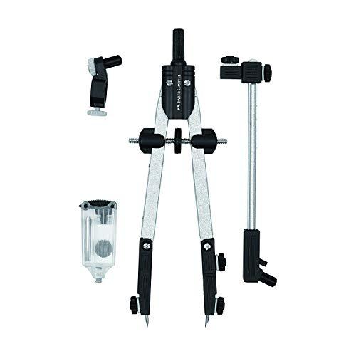 Faber-Castell 32724-3A - Compás de ajuste rápido con adaptador universal, alargadera y accesorios.