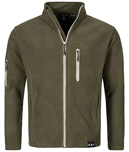 Rock Creek Herren Fleece Jacke Outdoor Wanderjacke Pullover Full Zip Hoodie Herrenjacke Fleecejacke Winterjacke Strickjacke Strickfleecejacke H-197 Dunkelgrün M
