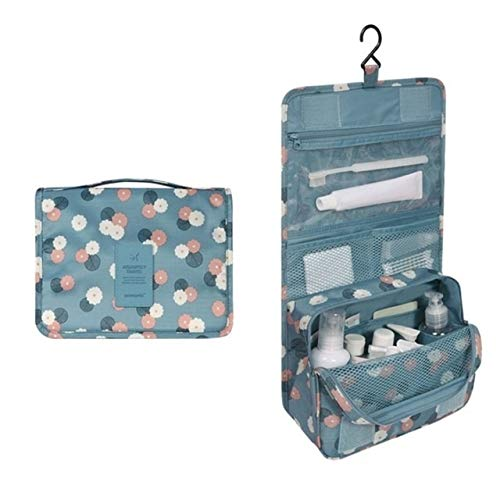 PoplarSun Imperméable à l'eau Portable Sac cosmétique Voyage Polyester Neceser Hanging Sac Neutre Wash Make Up Bag Organisateur de Bain Trousse de Toilette (Color : Blue Flowers)