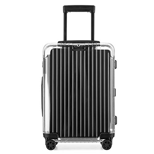 Ang-xj Transparent trolley case fashion personality PC star the same tide brand luggage 24 inch men and women suitcase universal wheel men and women aircraft checked boarding case