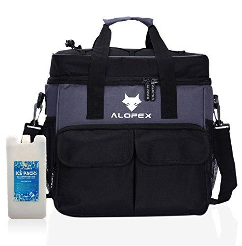 Lunch Box Insulated Bag 24 Can Soft Cooler for Men Women Travel Beach Outdoor w/ Shoulder Strap BONUS Icepack