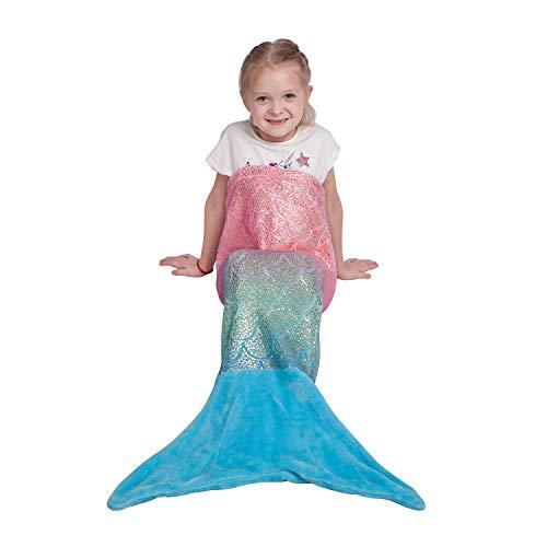 softan Meerjungfrau Decke für Kinder Mädchen Flosse Kuscheldecke Glitzernde Fischschwanz Flanell Fleece alle Jahreszeiten Schlafsack,Geschenk für mädchen,43x100cm