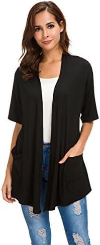 Womens Short Sleeve Open Front Lightweight Casual Comfy Long Line Drape Hem Soft Modal Cardigans product image