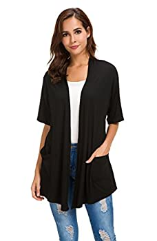 Womens Short Sleeve Open Front Lightweight Casual Comfy Long Line Drape Hem Soft Modal Cardigans Sweater with Two Pockets  Black XL