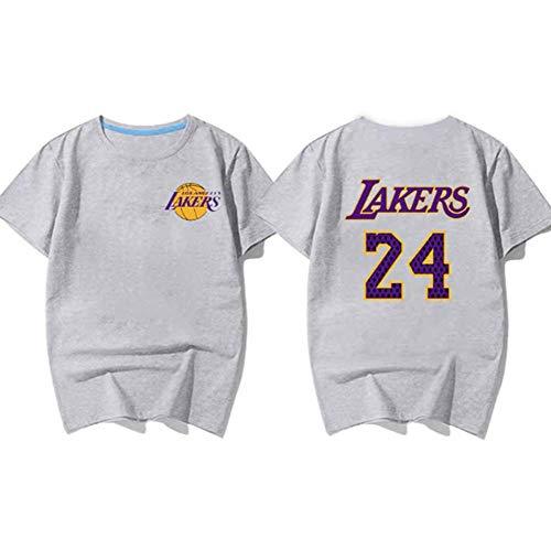 HANJIAJKL Herren Trikot Lakers Kobe 1996-2016 Retired Gedenk T-Shirt Kobe Baumwolle 24 Basketball Kleid Kurzarm Trikots,Grau,XL