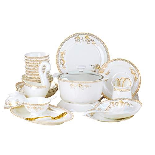 SMEJS Cfcjtz Conjunto de Platos de cerámica, vajilla doméstica, Conjunto de Platos Europeos de Porcelana Creativa y combinación de Palillos