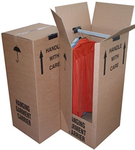 2 Tall Strong Wardrobe House Removal Moving Storage Boxes Containers With Garment Clothing Hanger Rail Size 51cm x 48cm x 125cm Thick Cardboard Dress Clothes Shirts Suit Packaging Packing Shipping Cartons