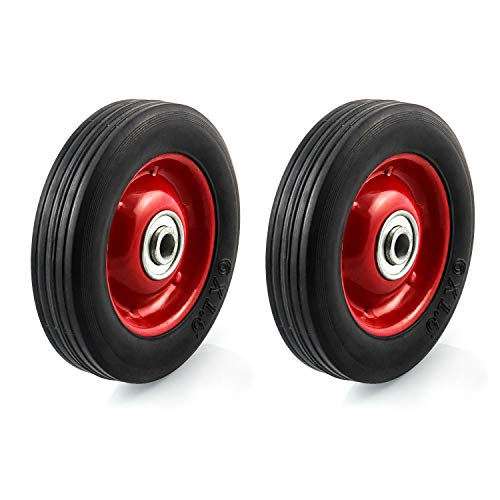 QWORK 2 Pack 6' x 1.5' Premium Rubber Wheel with Ball Bearing, Hand Truck Wheel, Capacity up to 132 lbs